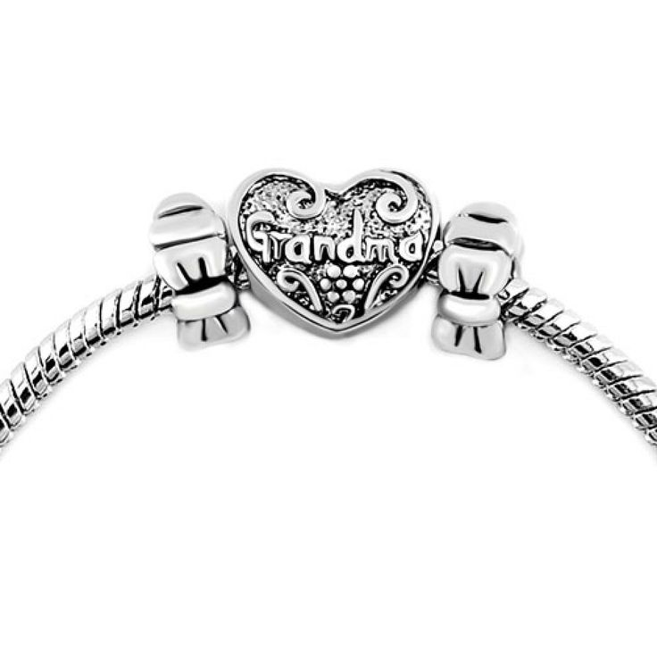 Silver Plated Bowknot Heart Grandma Beads Set BraceletPandora Compatible | Charmsstory.com #grandma #pandora #charms #bowknot #beads #charmbracelet