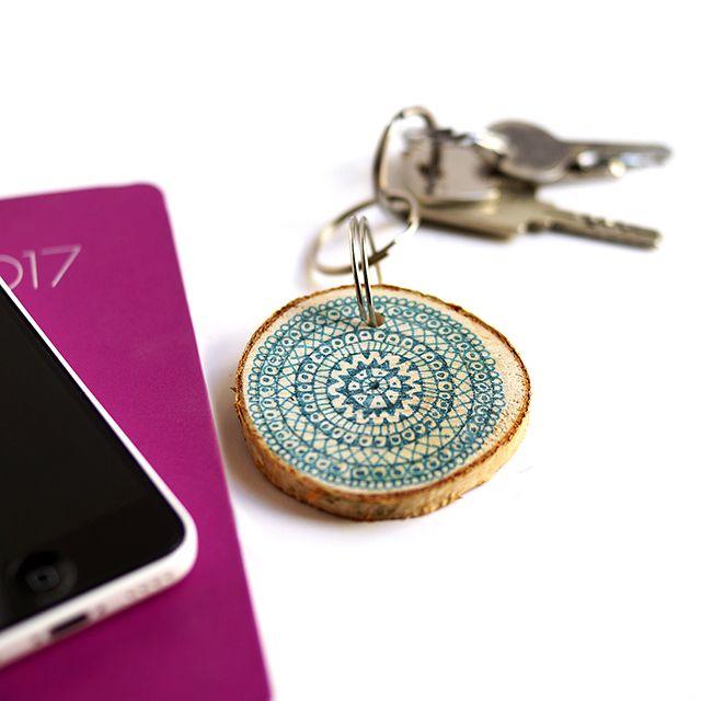 Wooden mandala keychain