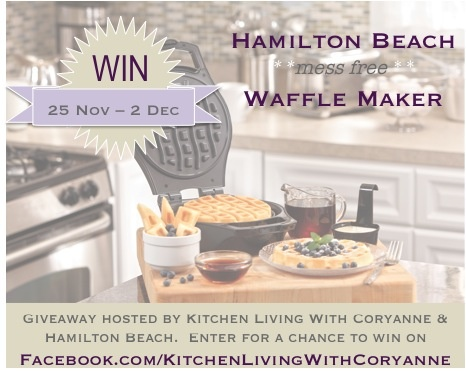 Win a @Hamilton Beach waffle maker this week on Kitchen Living with Coryanne via @coryanneettiene
