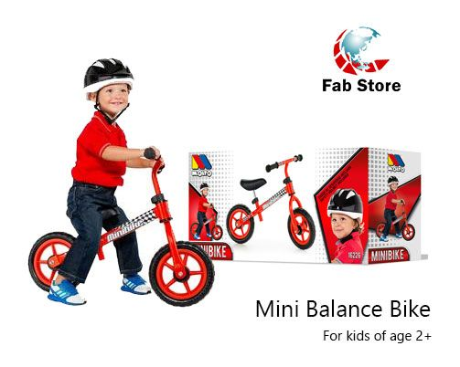 Mini Bike with matching saddle and handlebar. Children bike without pedals made of light metal. Give him his first bike without pedals. Available at Fabstore outlet in Spinneys the Pearl Qatar madinat centrale, or order online on fab-store.com