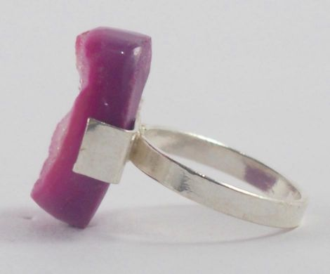 Handmade Silver Plated Ring with Pink Druzy Stone