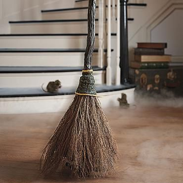 Animated Sweeping Broom — sweeps back and forth like it's haunted!!!
