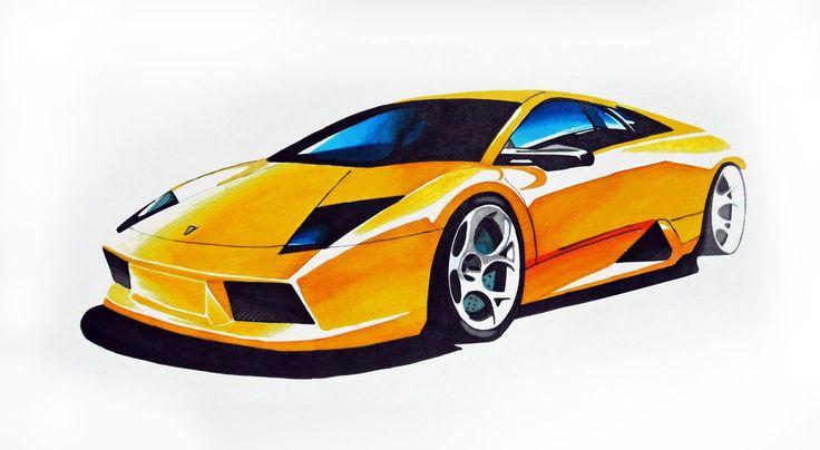 Lamborghini Murcielago markers 50x35cm drawn in 2008  by Justyna Bartosiewicz