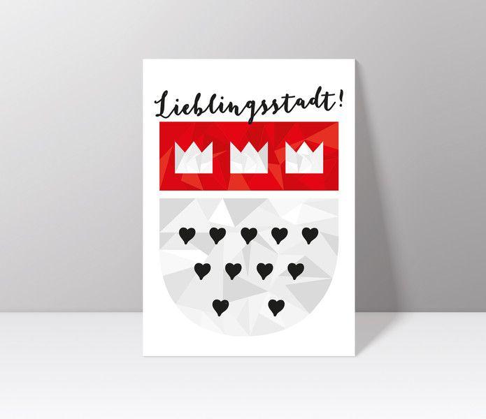Postkarten - Postkarte // Köln // Kölner Wappen - ein Designerstück von Veedelswerk bei DaWanda. #köln #kölnerdom #print #cologne #dawanda #herz #liebe #stadt #rhein #city #A4 #Veedelswerk #liebedeinestadt #dom #karneval #alaaf #travel #wanderlust #postkarte #postcard