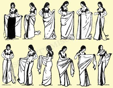 How to wear a sari. I have a t-shirt with this graphic on it. :) I still need my mom or some auntie to help me.