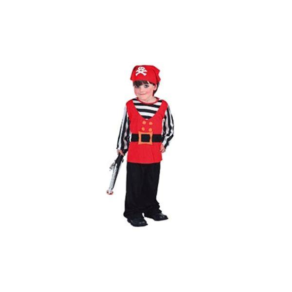 Piraten kostuum voor een peuter. Voordelig piraten pakje kostuum met bandana voor peuters in de leeftijd van 2 tot 4 jaar. Het kostuum heeft een totale lengte van ongeveer 92-104 cm en bestaat uit jumpsuit en hoofdband. Exclusief pistool. Carnavalskleding 2015 #carnaval