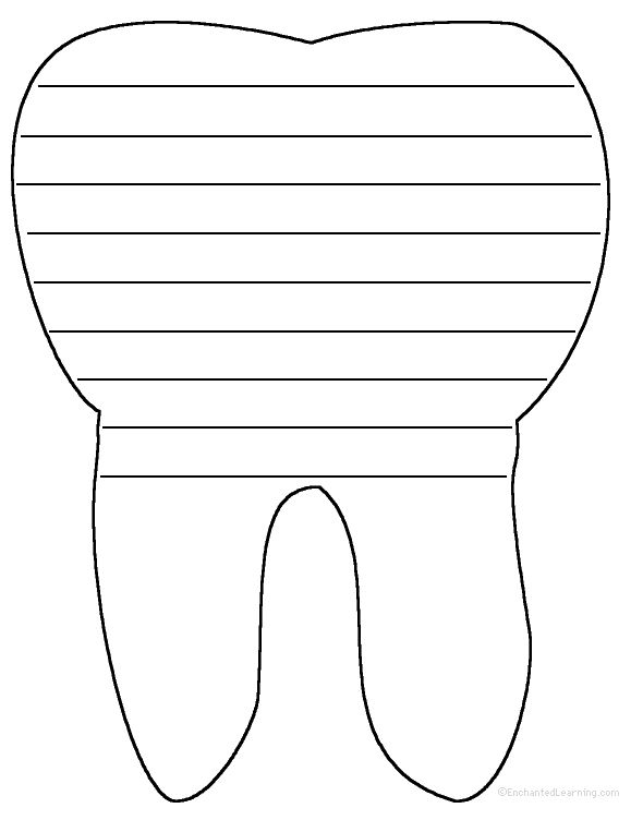 tooth writing sheet | Write a poem inside the tooth. Or go to a pdf of the poem worksheet .