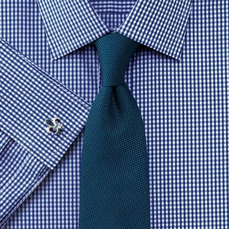 Navy small gingham Slim fit shirt