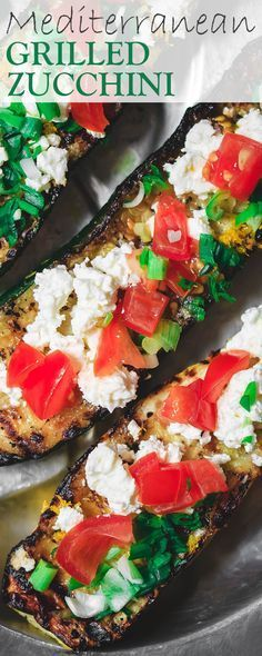Mediterranean Grilled Zucchini Recipe | The Mediterranean Dish. Quick olive oil grilled zucchini topped with tomato, feta and green onions. Comes together in less than 15 minutes! The perfect appetizer or side dish. Click the image for the recipe or browse TheMediterraneanDish.com #sensationalsides