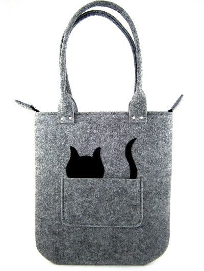 FELT BAG / in hand / in shoulder / Grey square & cat