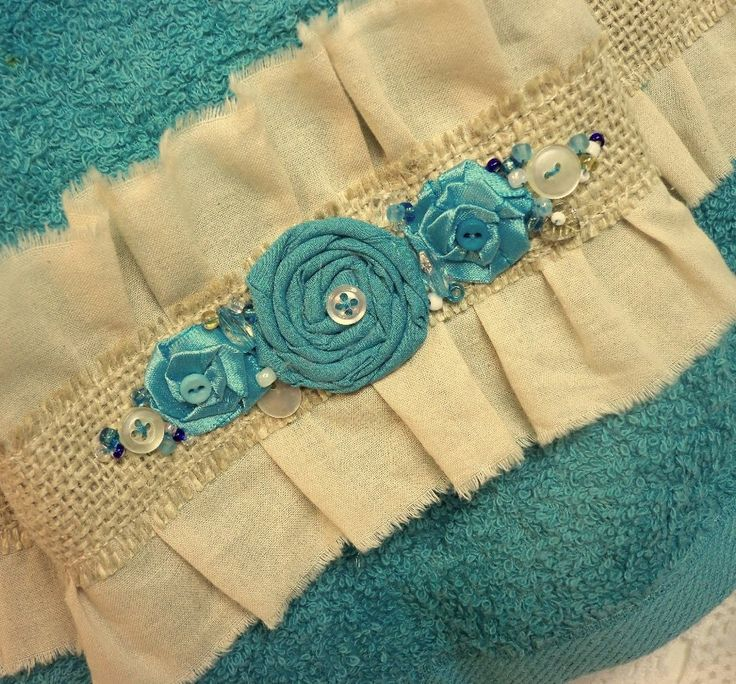 Pretty Neat Use Of Muslin, Burlap, Beads, Buttons And Rosettes On A Towel. Decorative  Hand TowelsFabric FlowersPaper ...