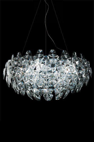 STELLAR Hope Modern Fresnel-Lens Diamond-Cut Shape Chandelier by Luceplan…