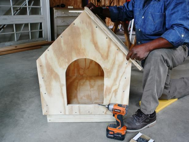 Man constructs a doghouse, while aligning roof panels on the top of the frame.
