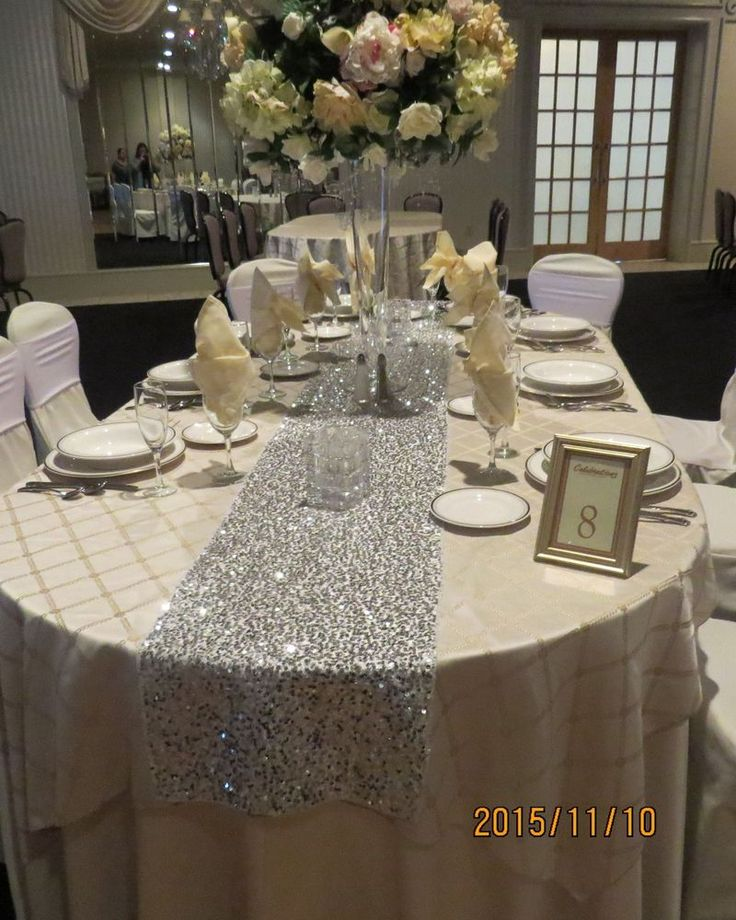 """Bling Wedding Cookie Tables: Silver Bling Sequins Table Runner, 12"""" By 108"""" , New"""
