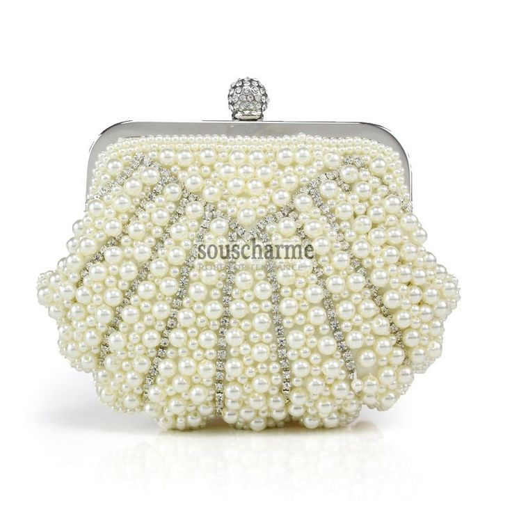 Pochette mariage style coquillage sac à main luxe ivoire aux perles simili cousu manuel pour mariée et demoiselle d'honneur