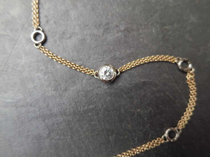 Rose and white gold diamond bracelet