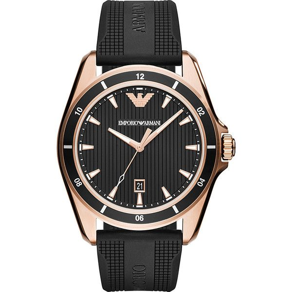Emporio Armani Men's Sport Watch - Black - Men's Watches ($245) ❤ liked on Polyvore featuring men's fashion, men's jewelry, men's watches, black, mens watches jewelry, mens leather strap watches, mens water resistant watches and mens sport watch