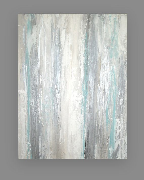 "Art Acrylic Abstract Original Painting on Canvas Titled: SILVER STREAK 30x40x1.5"" by Ora Birenbaum on Etsy, $385.00"