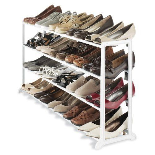 Shoes Rack Organiser Storage Durable Resin 4 Tier 20 Pair Floor Sneaker Boots #ShoesRackDurableResin4Tier20PairFloor
