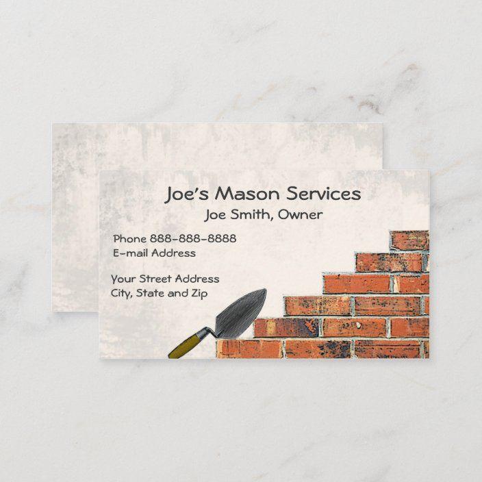 Brick Mason Masonry Business Card Zazzle Com In 2021 Shaped Business Cards Brick Mason Masons Masonry