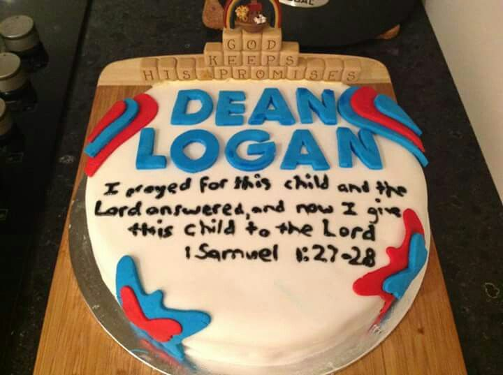 My son's dedication cake