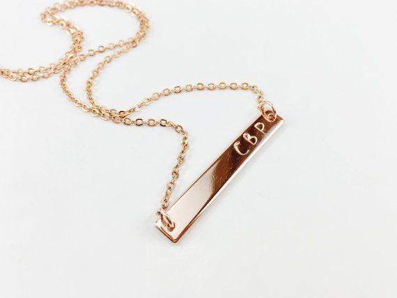 Mano timbrato Rose Gold Bar collana collana di nome di LunaOscula