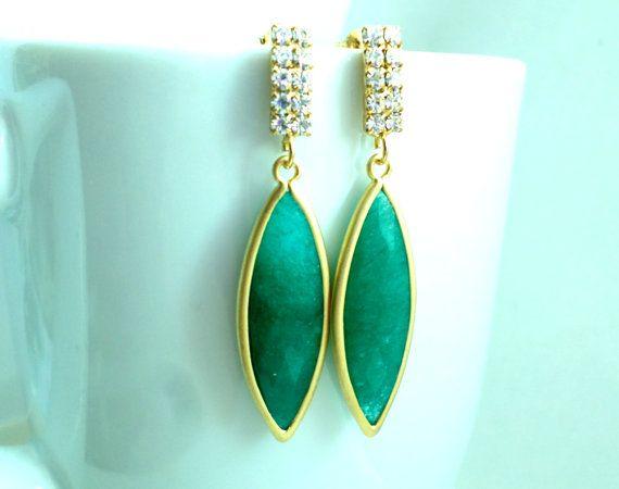 Bridal Emerald Earrings Bridesmaid. Christmas by StarlightWeddings