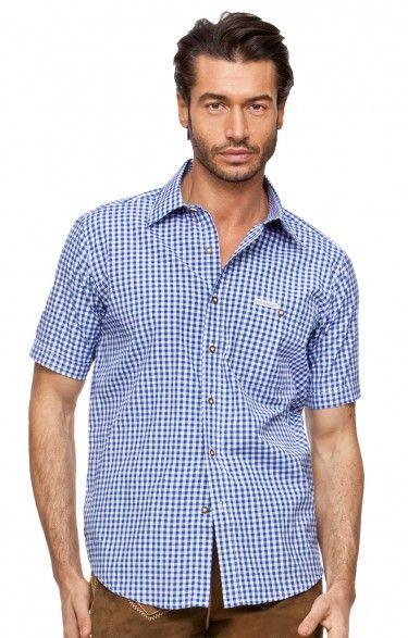 Chequered short sleeve shirt for men Renko2 blue