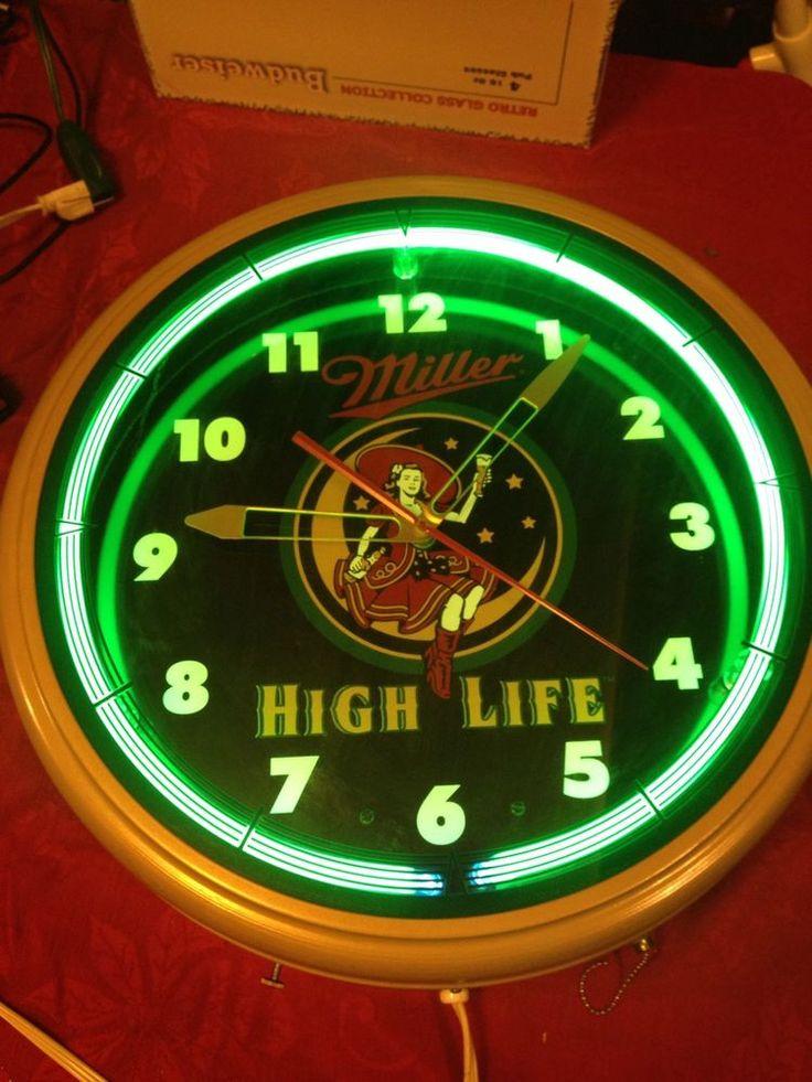 MILLER HIGH LIFE NEON CLOCK GIRL ON THE MOON FANTASY Advertising