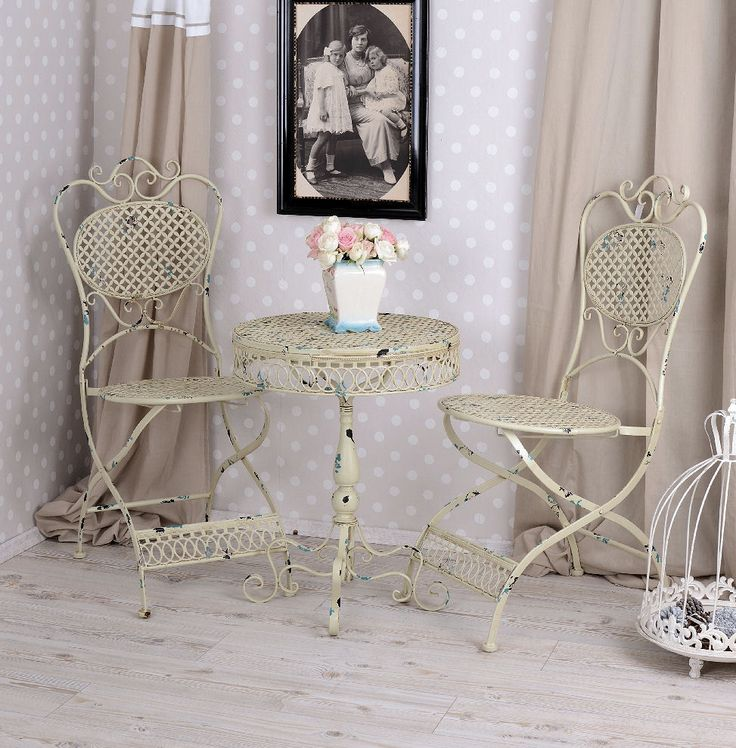 SHABBY CHIC ANTIQUE CREAM GARDEN FURNITURE SET BALCONY PATIO METAL TABLE 2CHAIRS