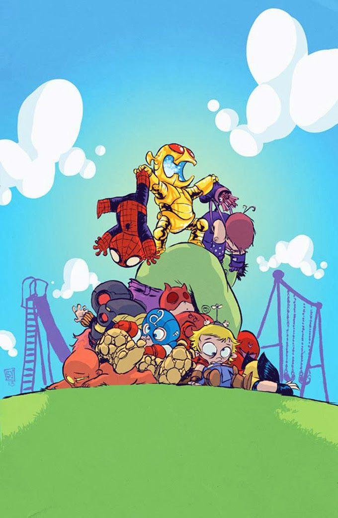 Ilustrações de super heróis quando pequenos - Actions e Comics