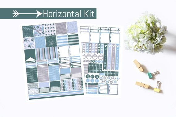 Frosty Pastels Horizontal Planner Stickers  by PrintsesPlanner