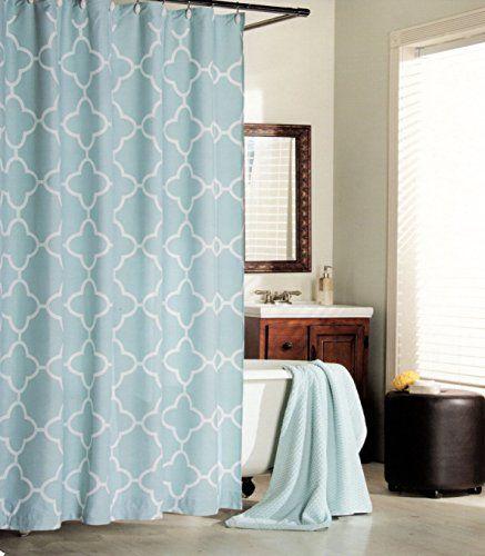 Max Studio Home 100 Percent Cotton Shower Curtain Moroccan Tile Quatrefoil Light Turquoise Aqua White