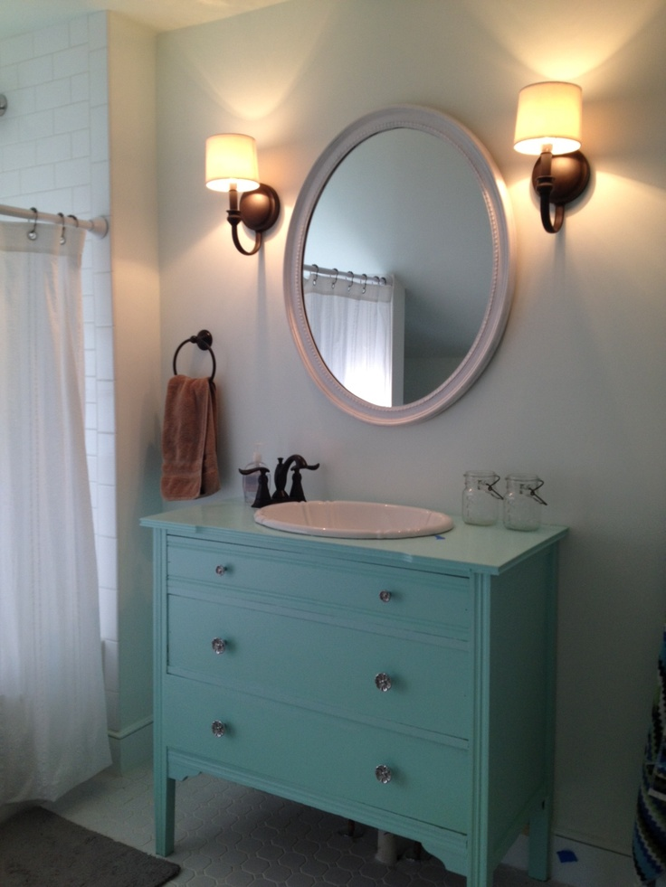 Dresser Turned Bathroom Vanity Tutorial: Reclaimed Dresser Turned Into Vanity