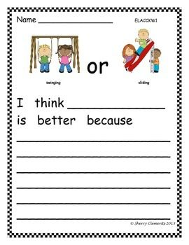 FREEBIE! OPINION WRITING: FAVORITE PLAYGROUND ACTIVITY - kindergarten writing -first grade writing -