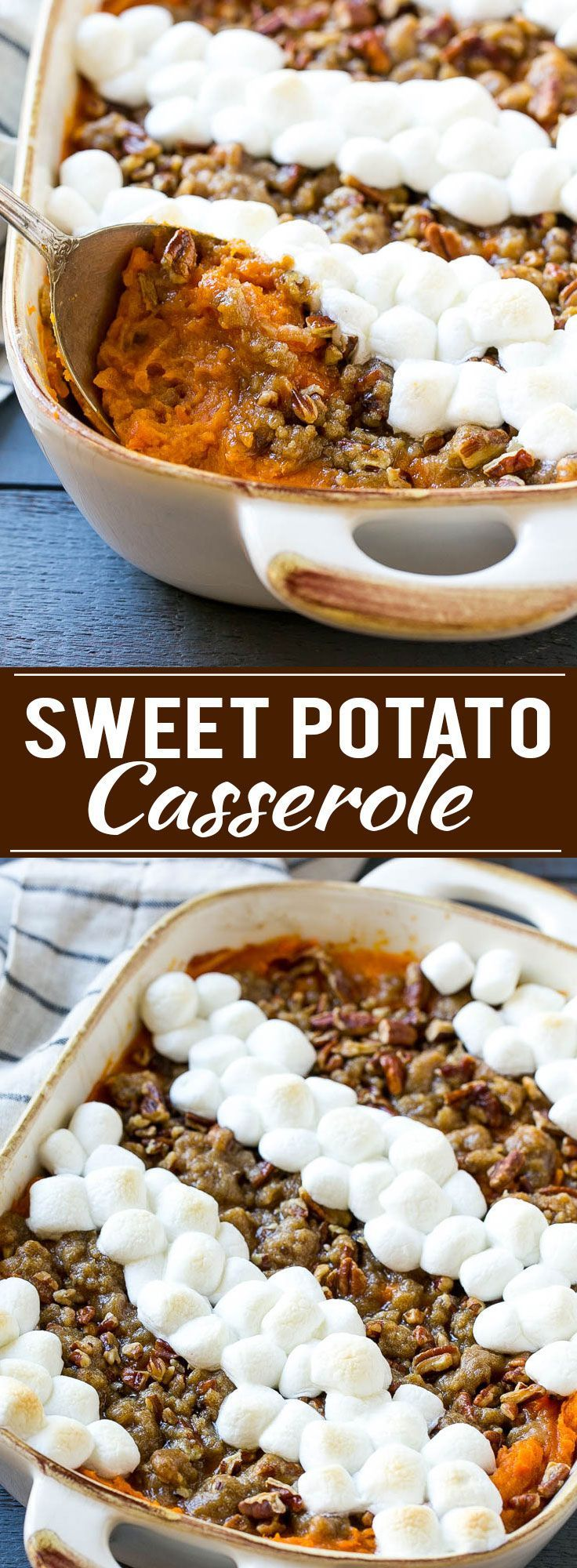 This recipe for a sweet potato casserole with marshmallows is mashed spiced sweet potatoes, topped with both a pecan streusel topping and plenty of mini marshmallows. A holiday classic that's a family favorite!