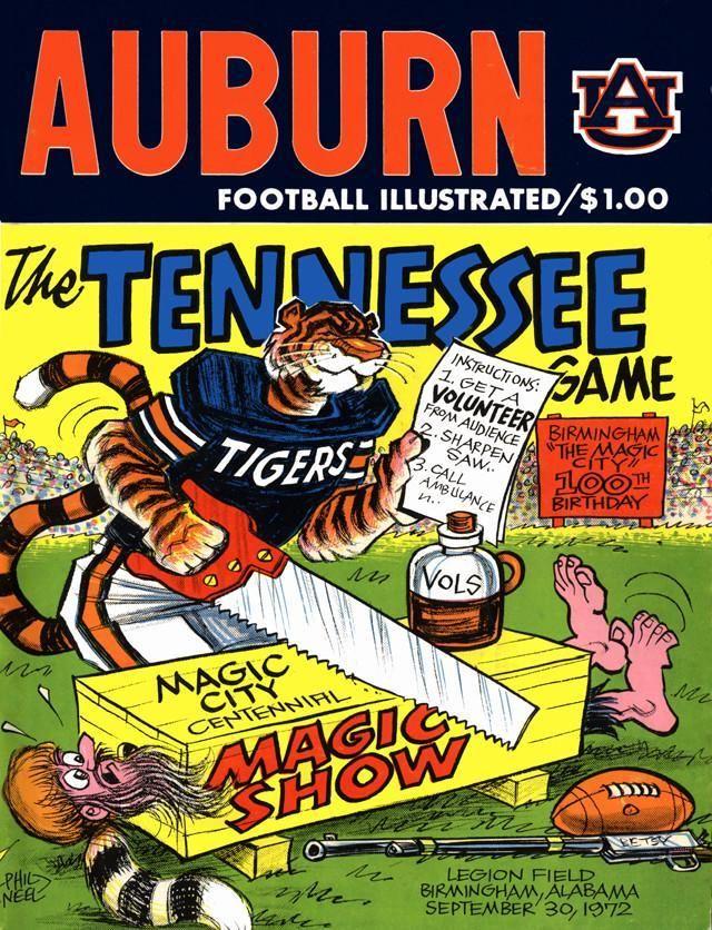 1972 Auburn Tigers vs Tennessee Volunteers 30x40 Canvas