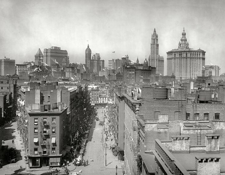 "New York circa 1915. ""New York skyline from Manhattan Bridge."""