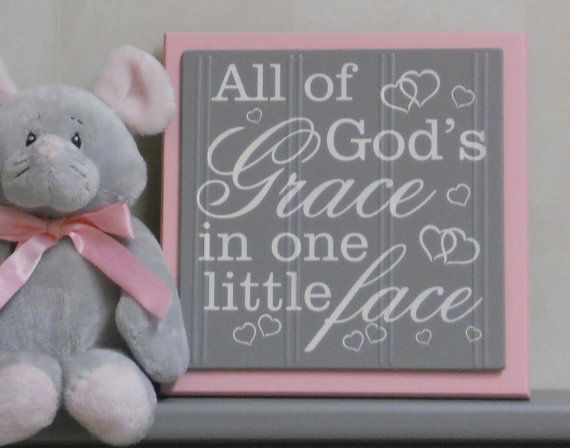 Pink and Gray Nursery Signs  All Of Gods Grace In by NelsonsGifts