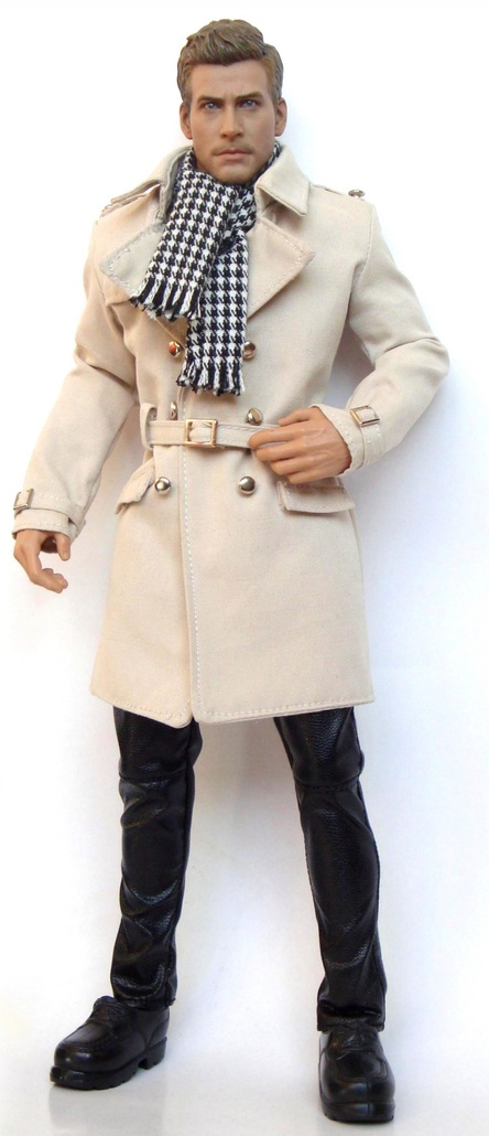 Houndstooth scarf and Trench, Male Fashion Doll