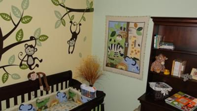 Fun Monkey Business Baby Nursery Theme w Custom Jungle Safari Monkey Wall Decals: Our monkey business baby nursery theme is fun and energetic and we just love it!  My husband and I had considered a safari themed nursery but decided that