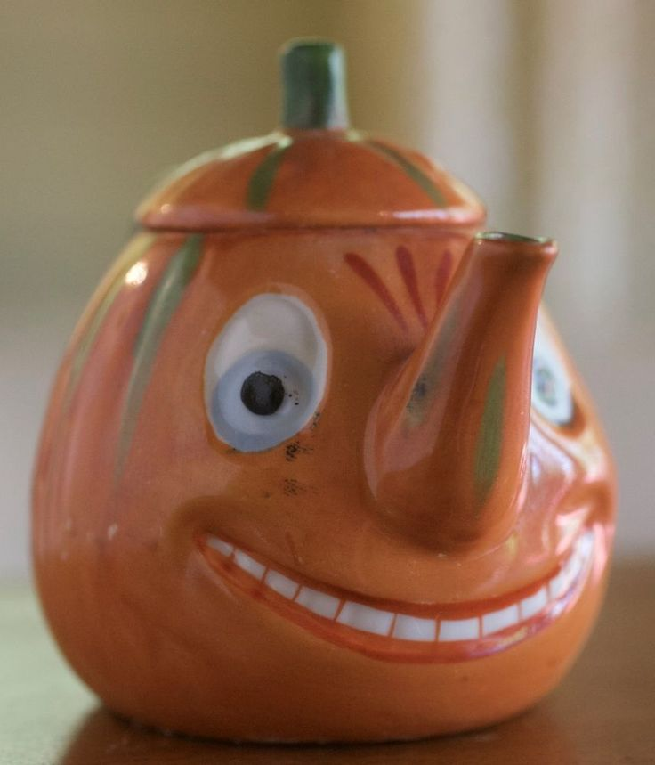 Vintage Halloween German Pumpkin Germany Jack O' Lantern Tea Set. Pot with lid