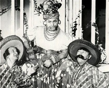 """Larry, Moe & Curly donned a lot of costumes in their shorts and films but these are some of the wildest! Here they are from the 1941 feature """"Time Out For Rhythm."""" They're decked out for the film's finale, a musical number with The Boys doing a hilarious rumba. What's your favorite Stooge costume?"""