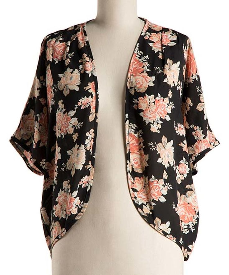This Black Floral Open Cardigan - Plus by Fashionomics is perfect! #zulilyfinds