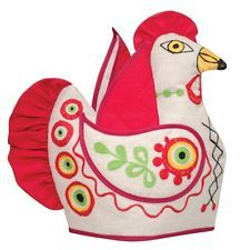 Rooster Tea Cozy Fringed with Pot Holders (Teapot Doll)