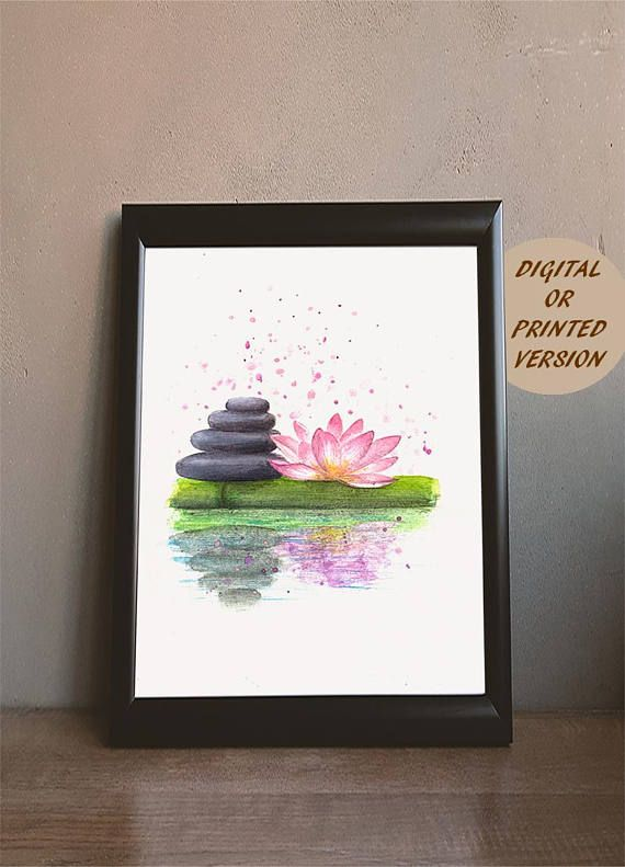 Relaxing zen stones and lotus flower. #lotus #flower #walldecor #namaste #walldecor #lotusart #painting #lotus #walldecor #lotusprintgift #artpainting #artprint #zenstonesart #bamboo #zenstonesgift #lotuswallart #spadecor #watercolor