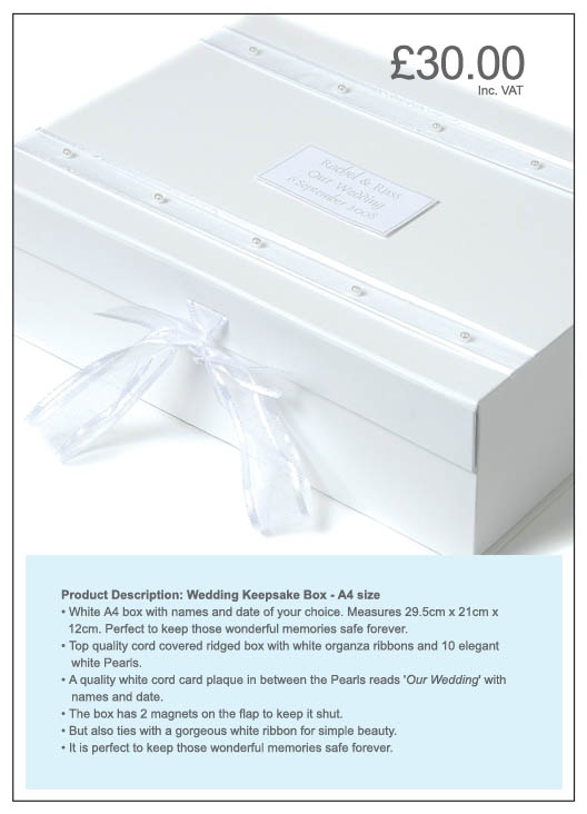 Wedding Keepsake Box - personalised box to keep those special wedding memories safe