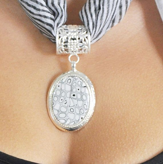 Black and White scarf jewelry Silver plated bail and by NuritNaor, $48.00