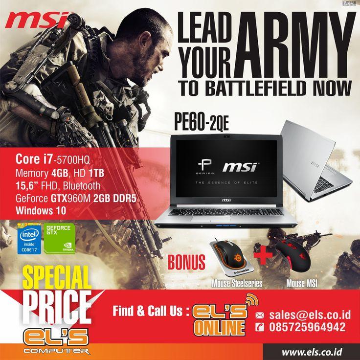 MSI PE60-2QE gaming series tersedia di Els Computer. Order via http://www.els.co.id/ siap kirim ke seluruh Indonesia.