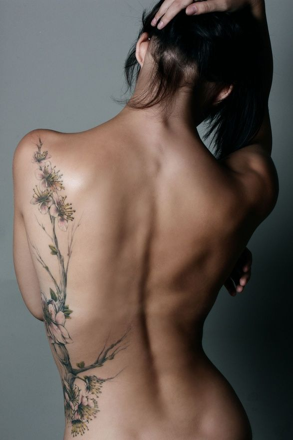 Flower Back / Side Tattoo .. for me a cherry blossom tree attached to my bird?